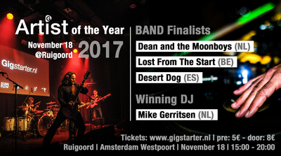 Finalists of Gigstarter Artist of the Year 2017 Belgium