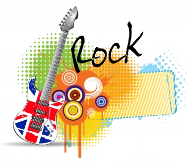 Guitar rock music background  vector graphic 12173