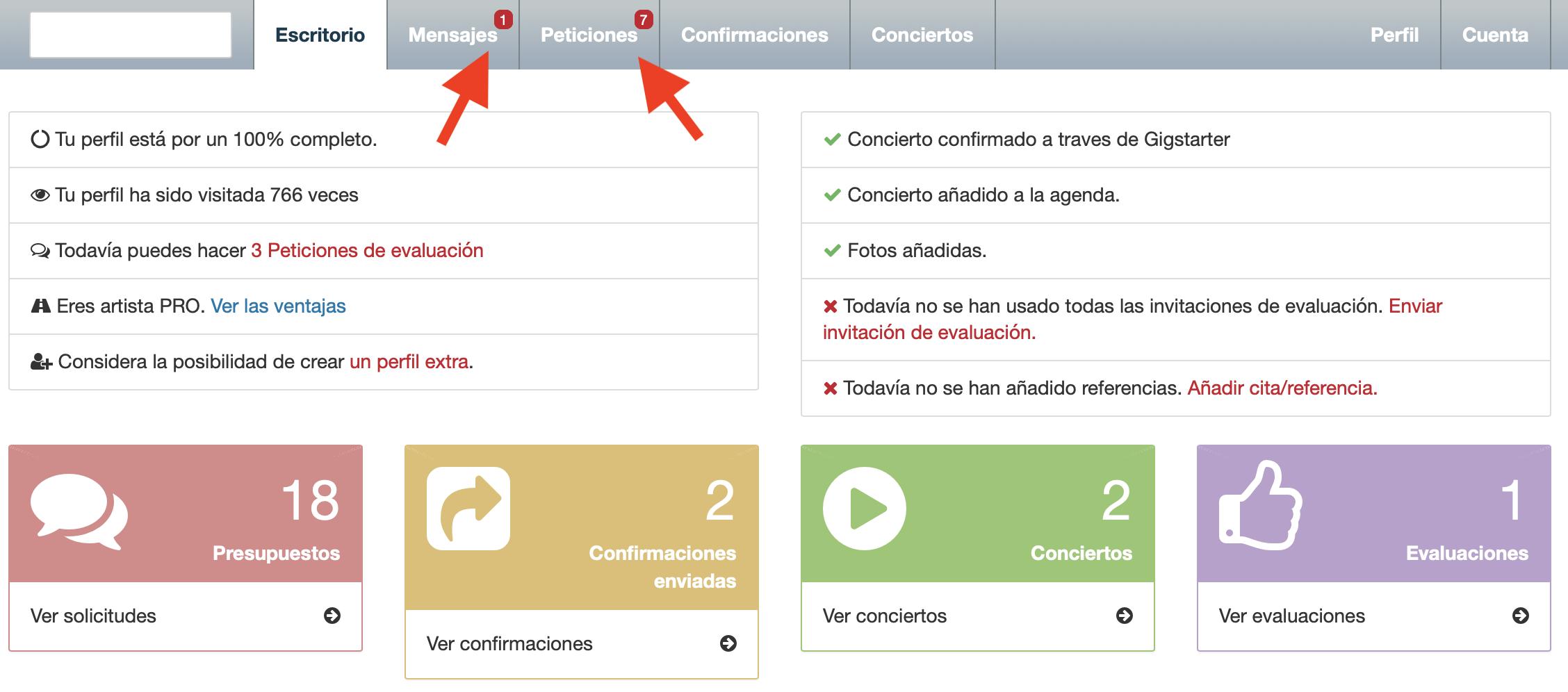 Tu espacio Gigstarter, ambas flechas rojas indican nuevos mensajes
